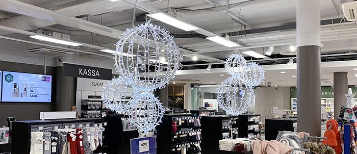 Jouluvalaistus Kauppakeskus Sokkarilla.